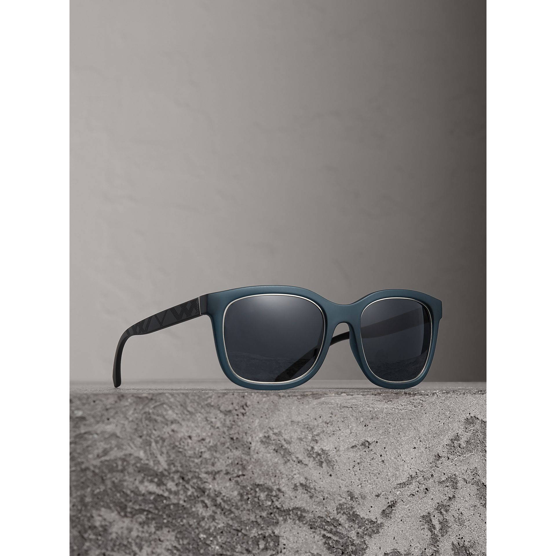 Embossed Check Detail Square Frame Sunglasses in Navy - Men | Burberry - gallery image 1