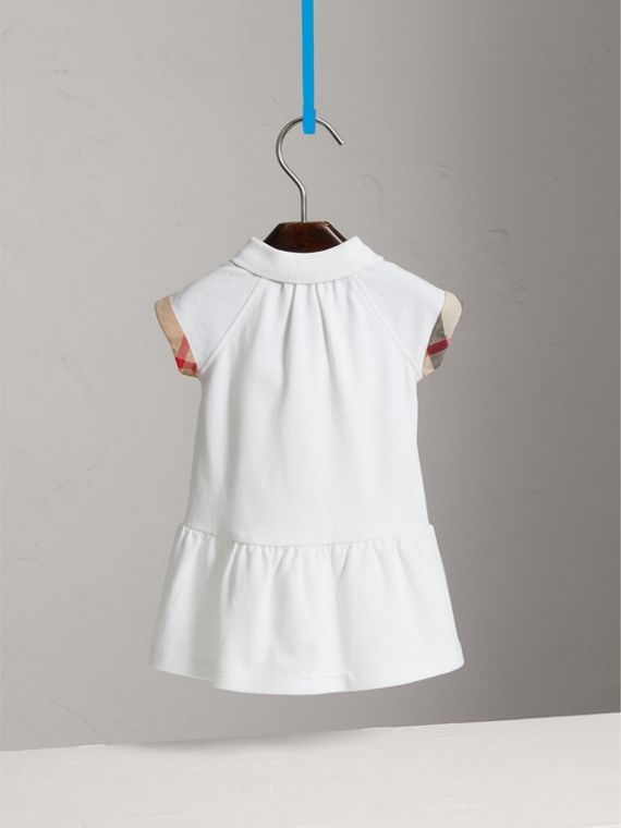 Check Detail Stretch Cotton Piqué Dress in White | Burberry - cell image 3