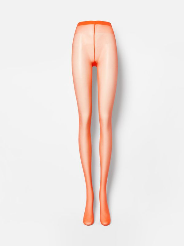 Monogram Motif Seamed Tights in Bright Orange - Women | Burberry - cell image 2