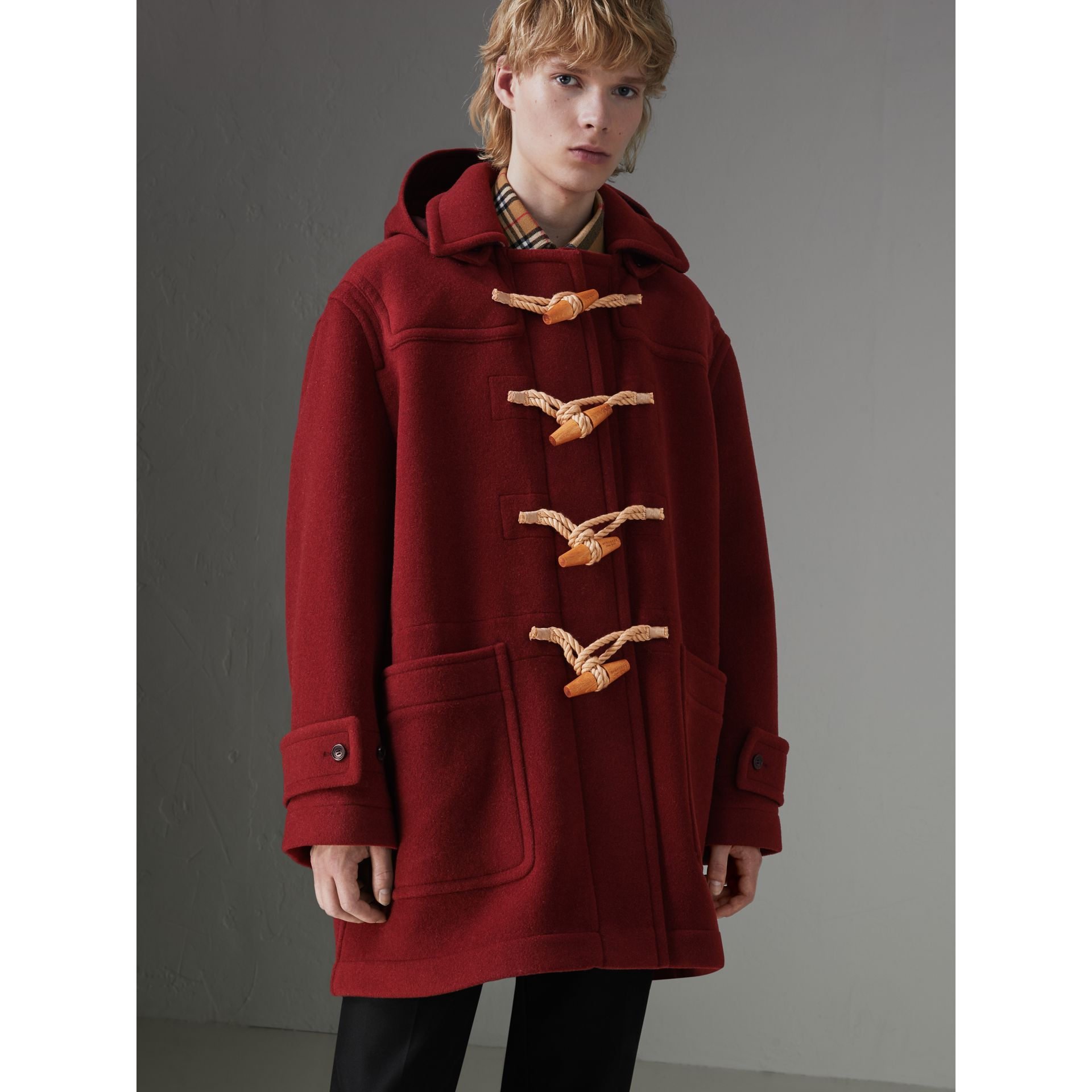 Gosha x Burberry Oversized Duffle Coat in Claret | Burberry - gallery image 6