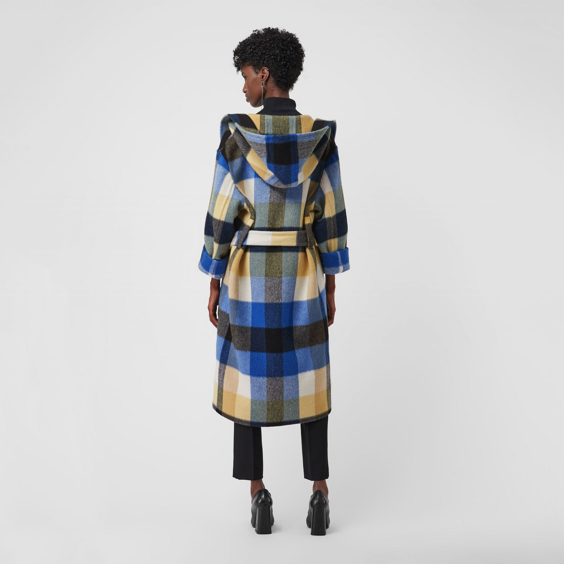 Check Oversized Dressing Gown Coat in Ochre Yellow - Women | Burberry United States - gallery image 2