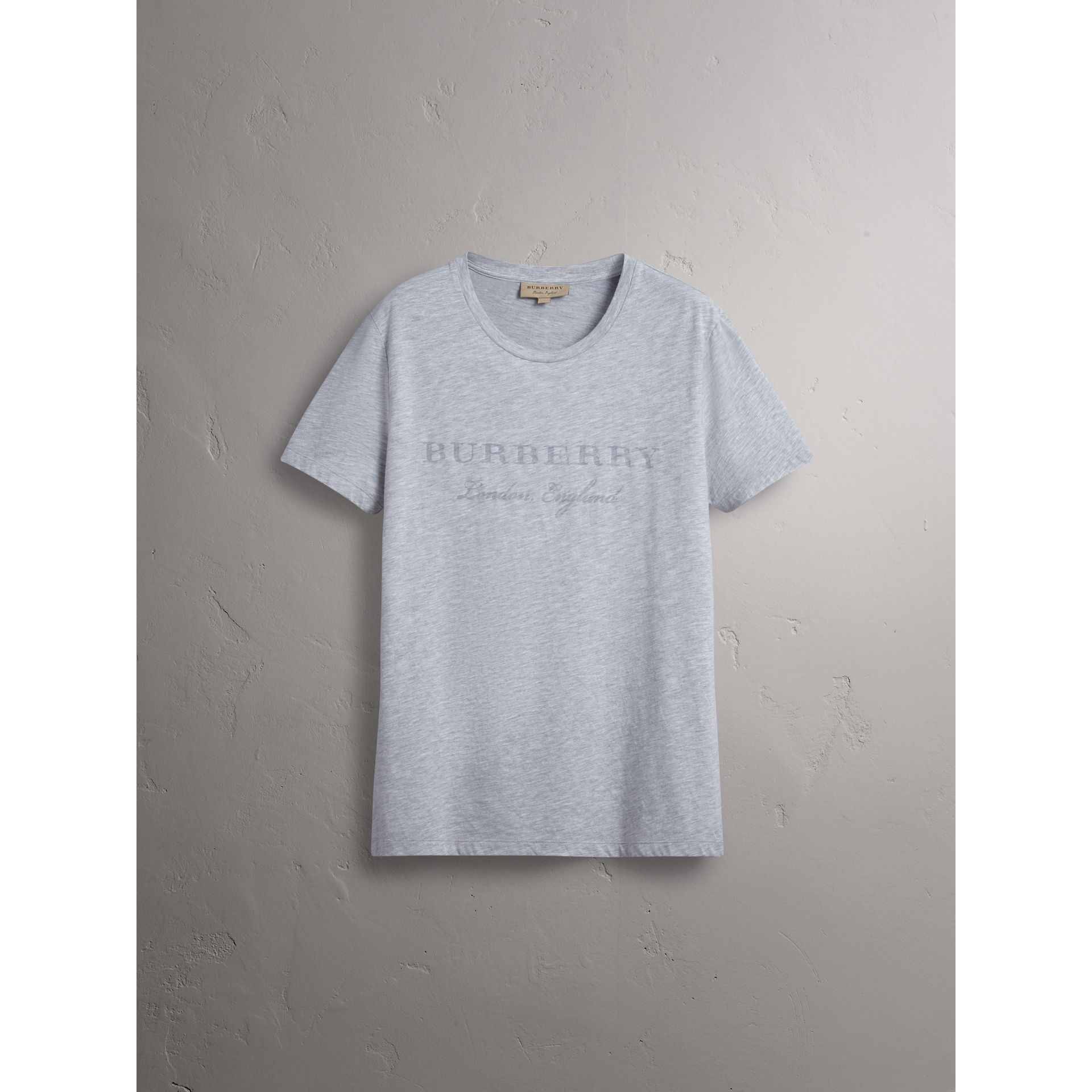 Devoré Cotton Jersey T-shirt in Pale Grey Melange - Men | Burberry - gallery image 4