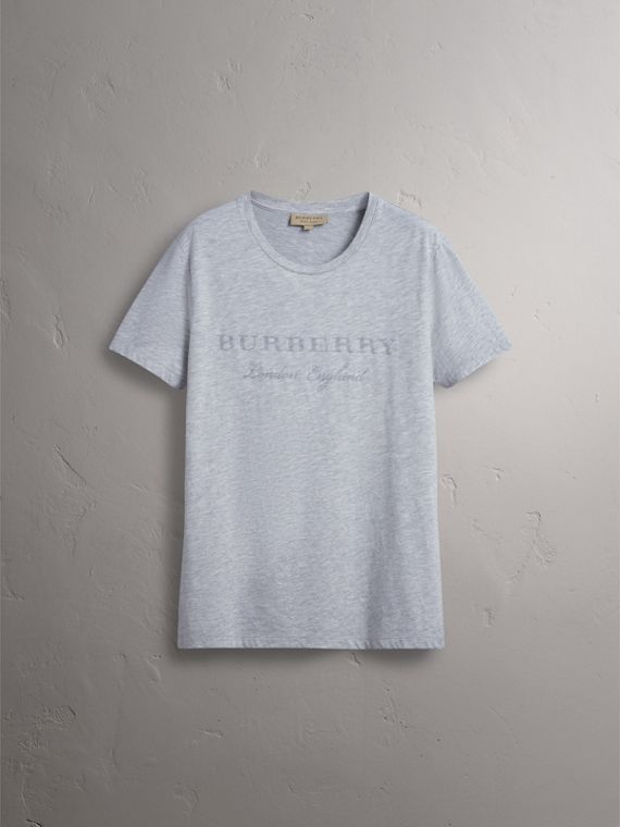 Devoré Cotton Jersey T-shirt in Pale Grey Melange - Men | Burberry - cell image 3