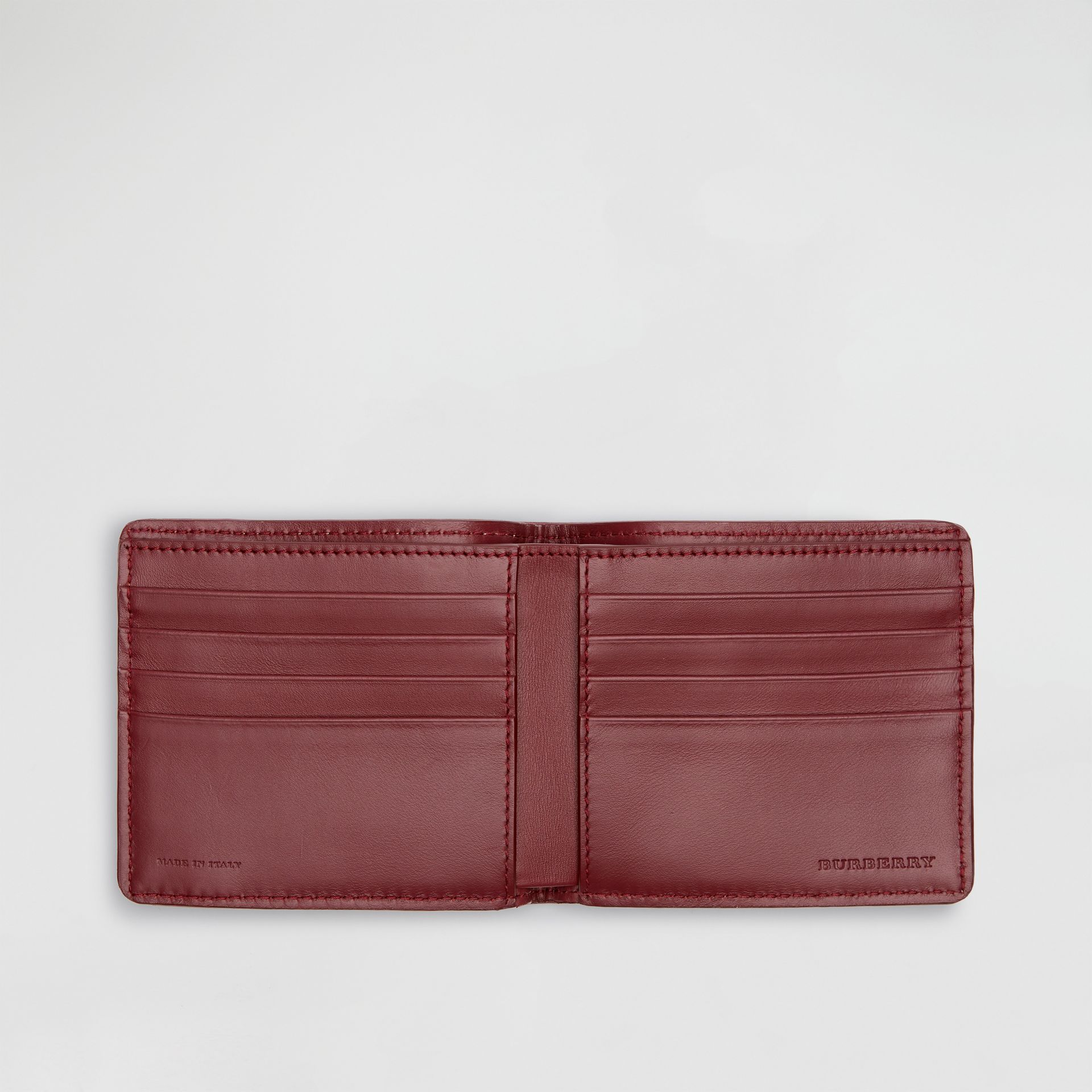 1983 Check and Leather International Bifold Wallet in Antique Red - Men | Burberry United Kingdom - gallery image 3