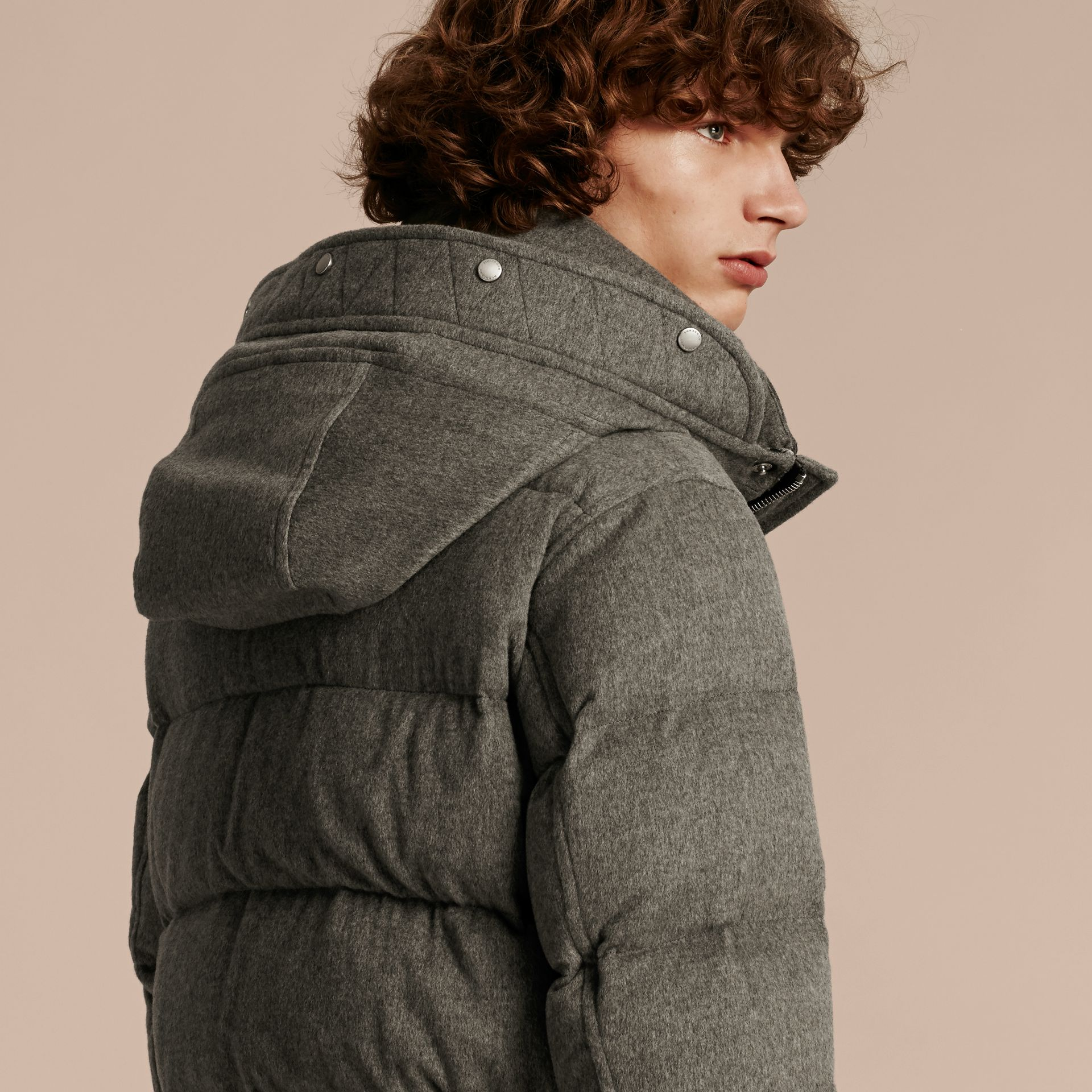 Down-filled Cashmere Parka with Detachable Fur Trim in Mid Grey Melange - gallery image 6