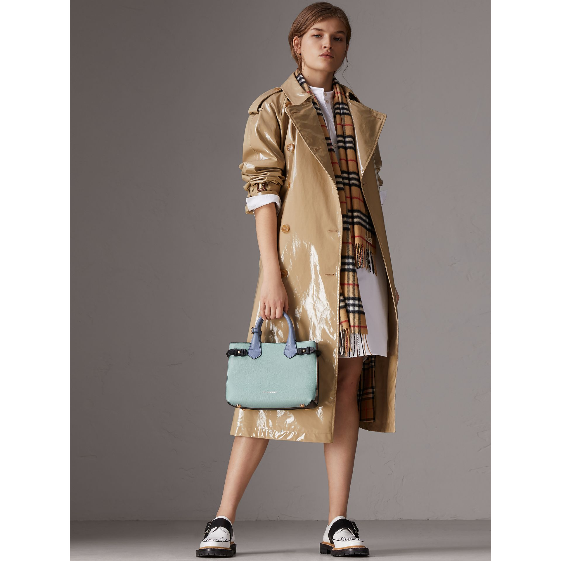 The Small Banner in Tri-tone Leather and House Check in Pale Opal/slate Blue - Women | Burberry Singapore - gallery image 3
