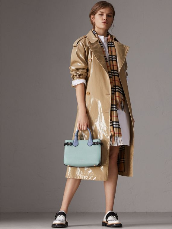 The Small Banner in Tri-tone Leather and House Check in Pale Opal/slate Blue - Women | Burberry Singapore - cell image 3