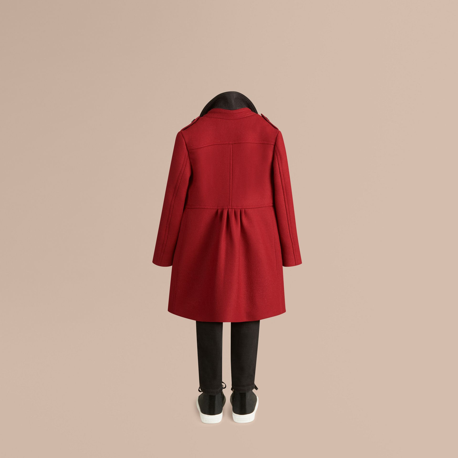 Damson red Virgin Wool Cashmere Blend Coat - gallery image 4