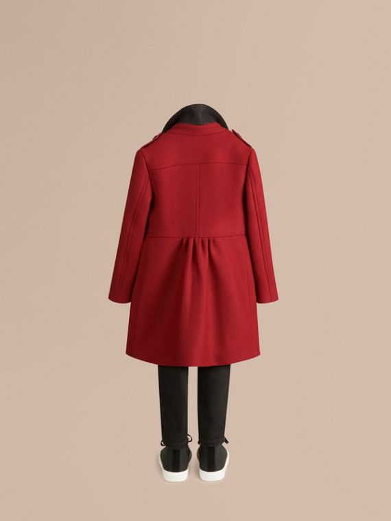 Damson red Virgin Wool Cashmere Blend Coat - cell image 3