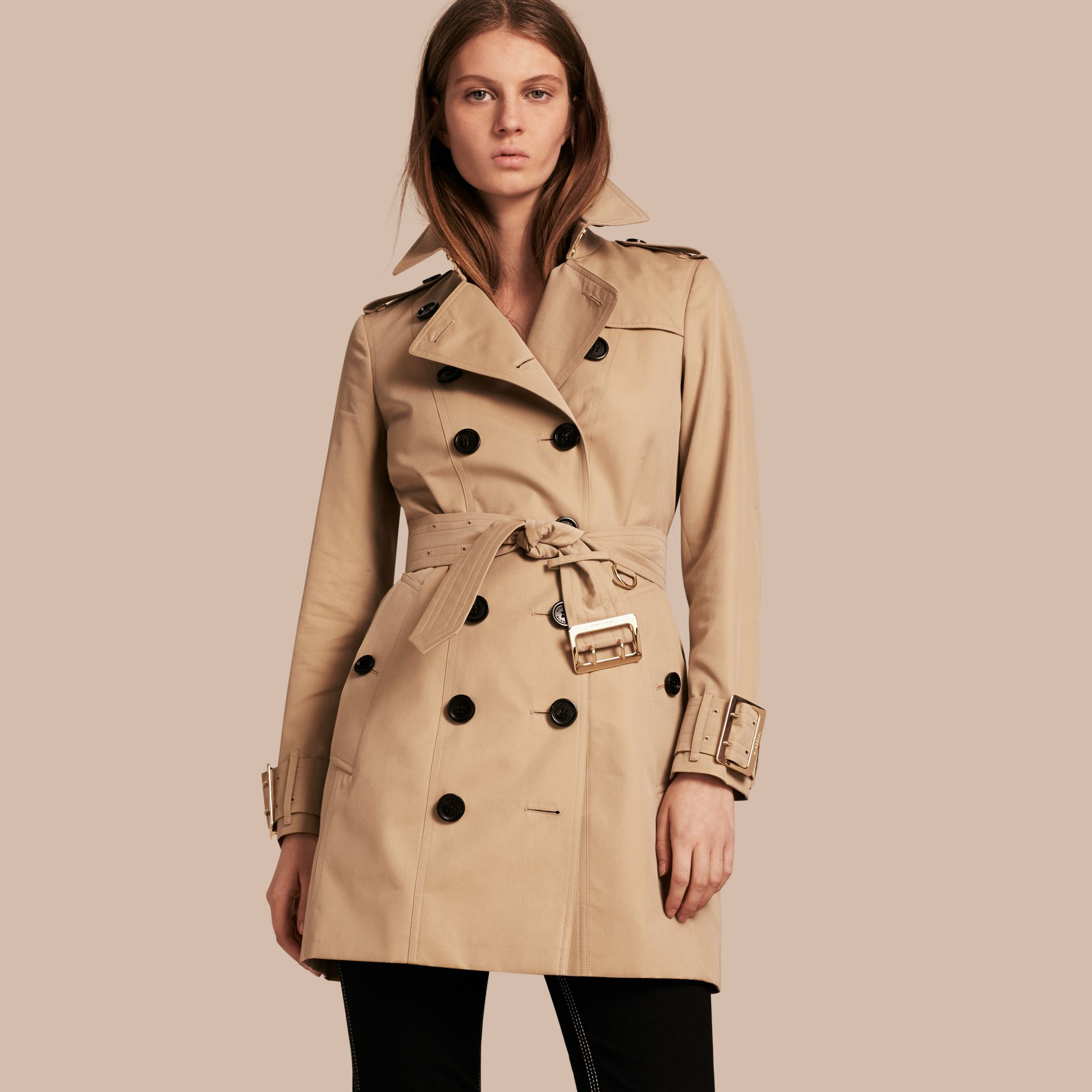 Honey Cotton Gabardine Trench Coat with Oversize Buckle Detail Honey - gallery image 1