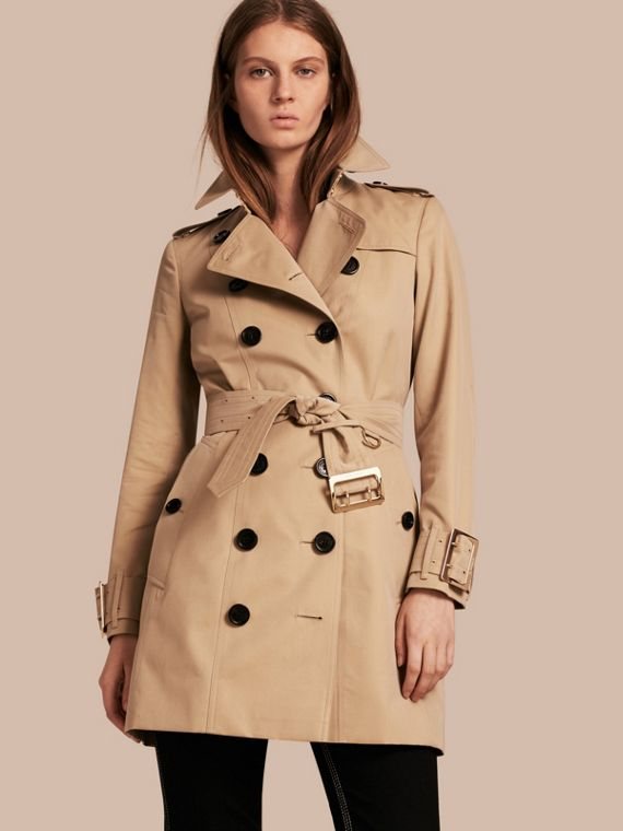 Cotton Gabardine Trench Coat with Oversize Buckle Detail Honey