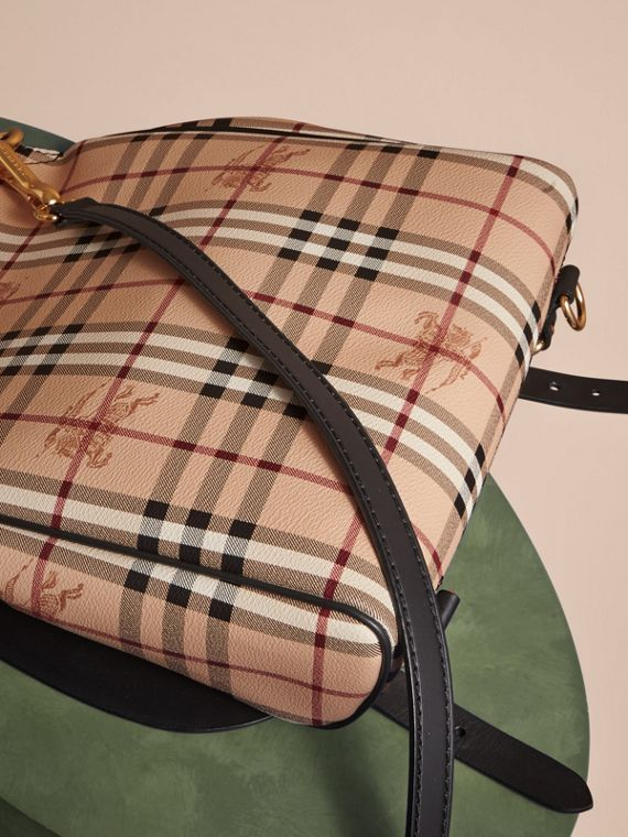 The Small Bridle Bag in Leather and Haymarket Check in Black - Men | Burberry - cell image 3