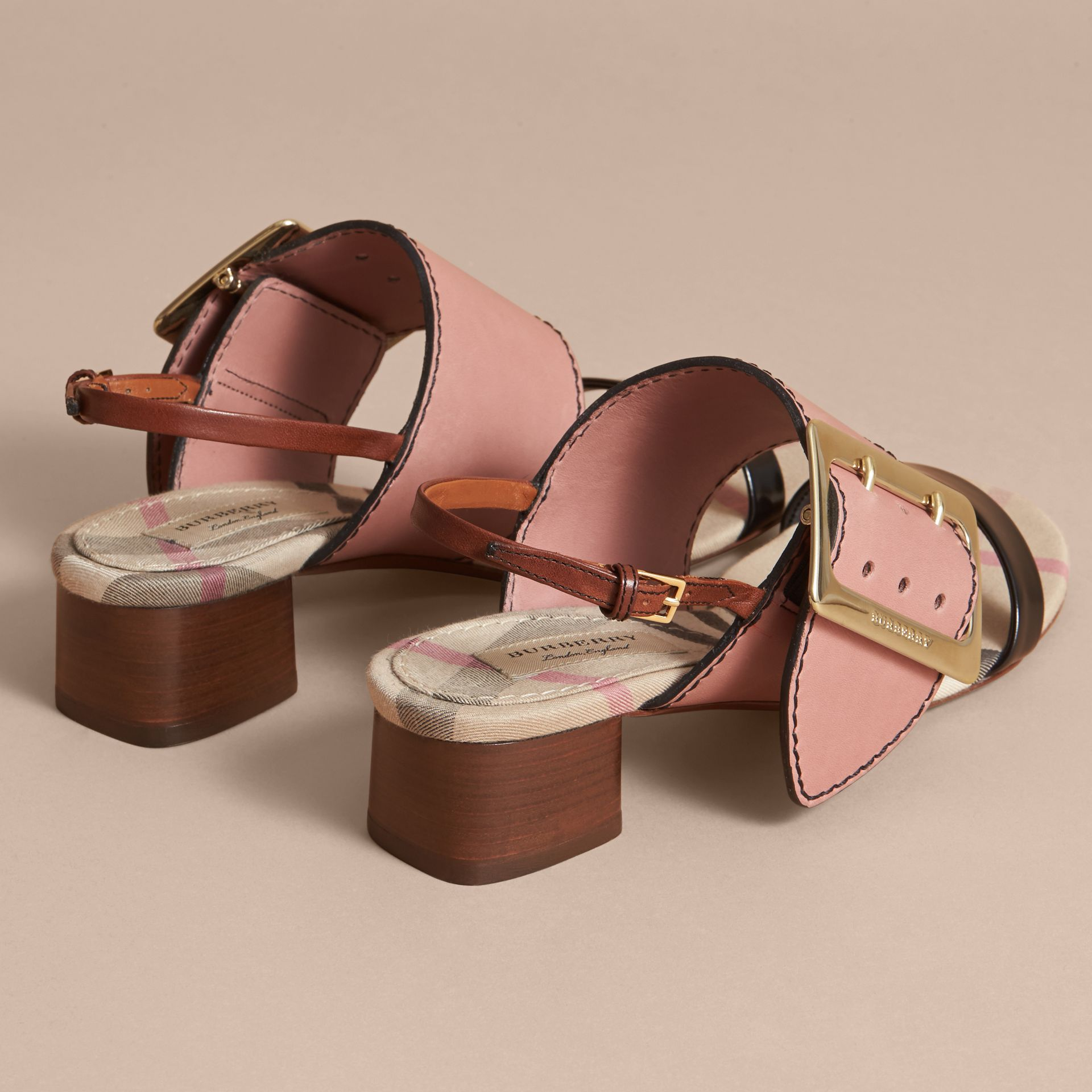Buckle Detail Colour Block Leather Sandals in Nude Pink | Burberry - gallery image 3
