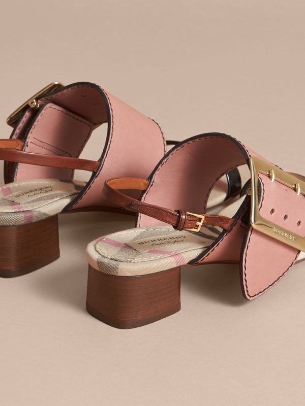 Buckle Detail Colour Block Leather Sandals in Nude Pink | Burberry - cell image 3