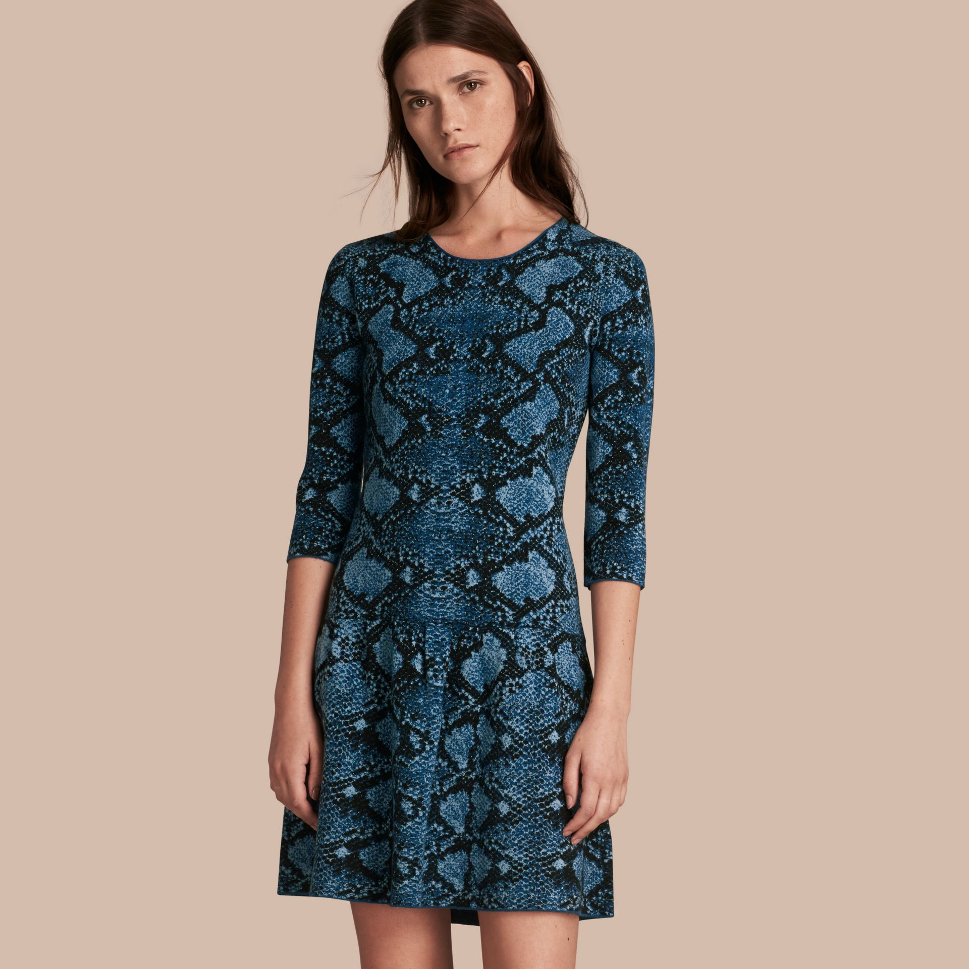 Mineral blue Python Jacquard Merino Wool Dress - gallery image 1