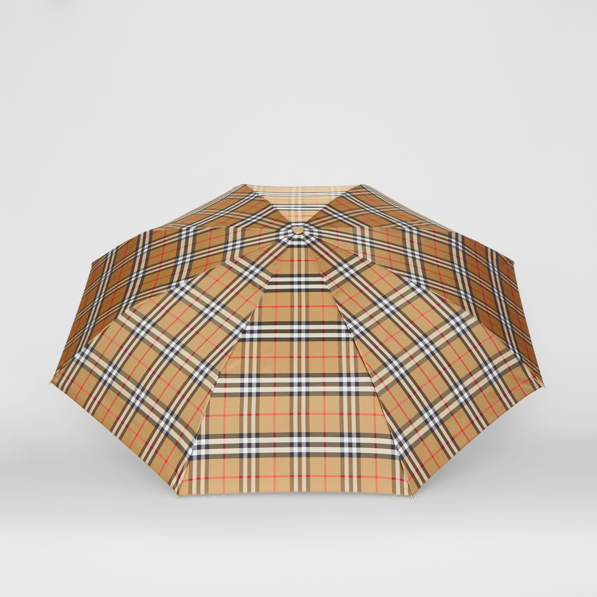 Vintage Check Folding Umbrella in Antique Yellow/black | Burberry Australia - gallery image 2