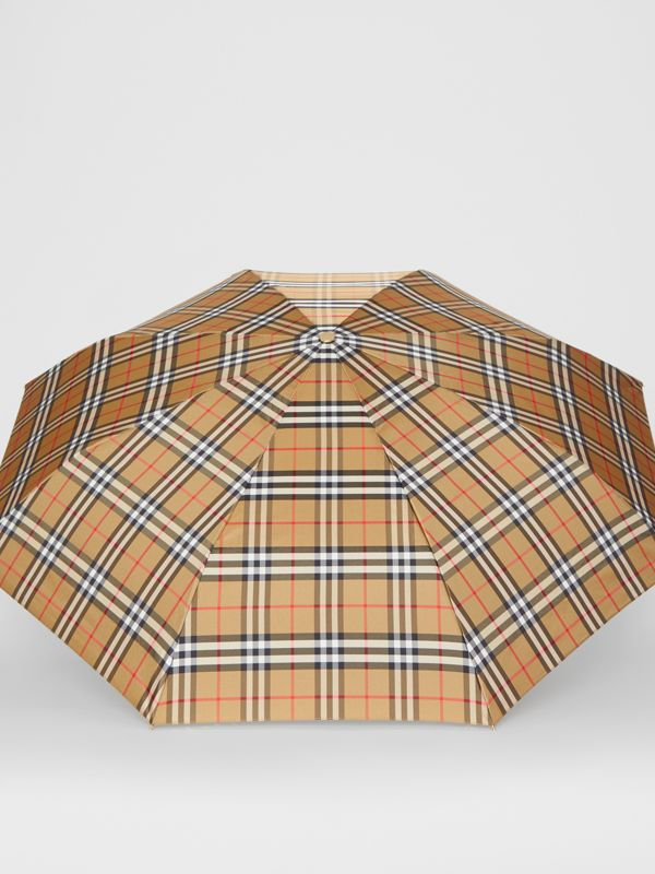 Vintage Check Folding Umbrella in Antique Yellow/black - Women | Burberry United States - cell image 2