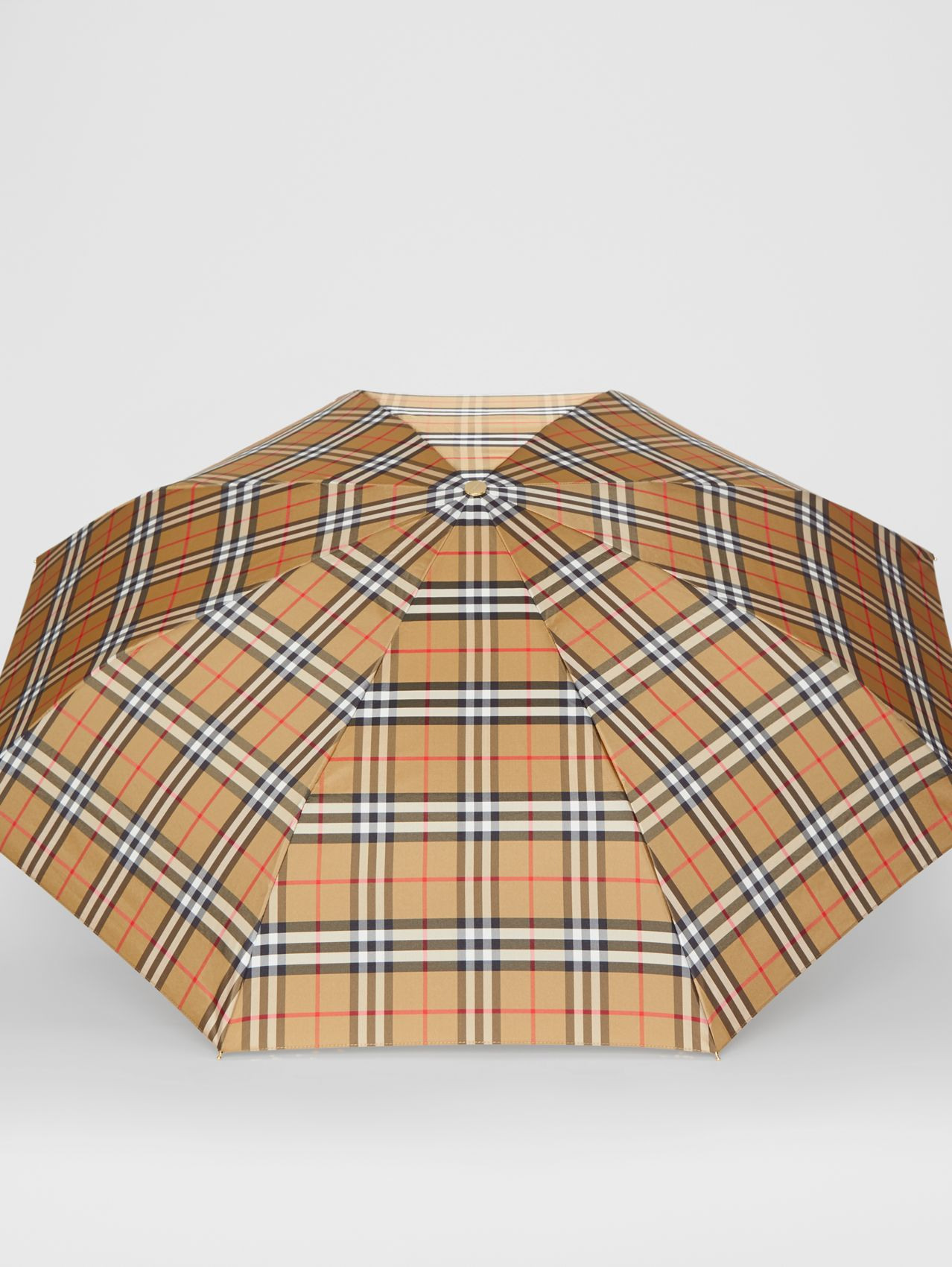 Vintage Check Folding Umbrella (Antique Yellow/black)