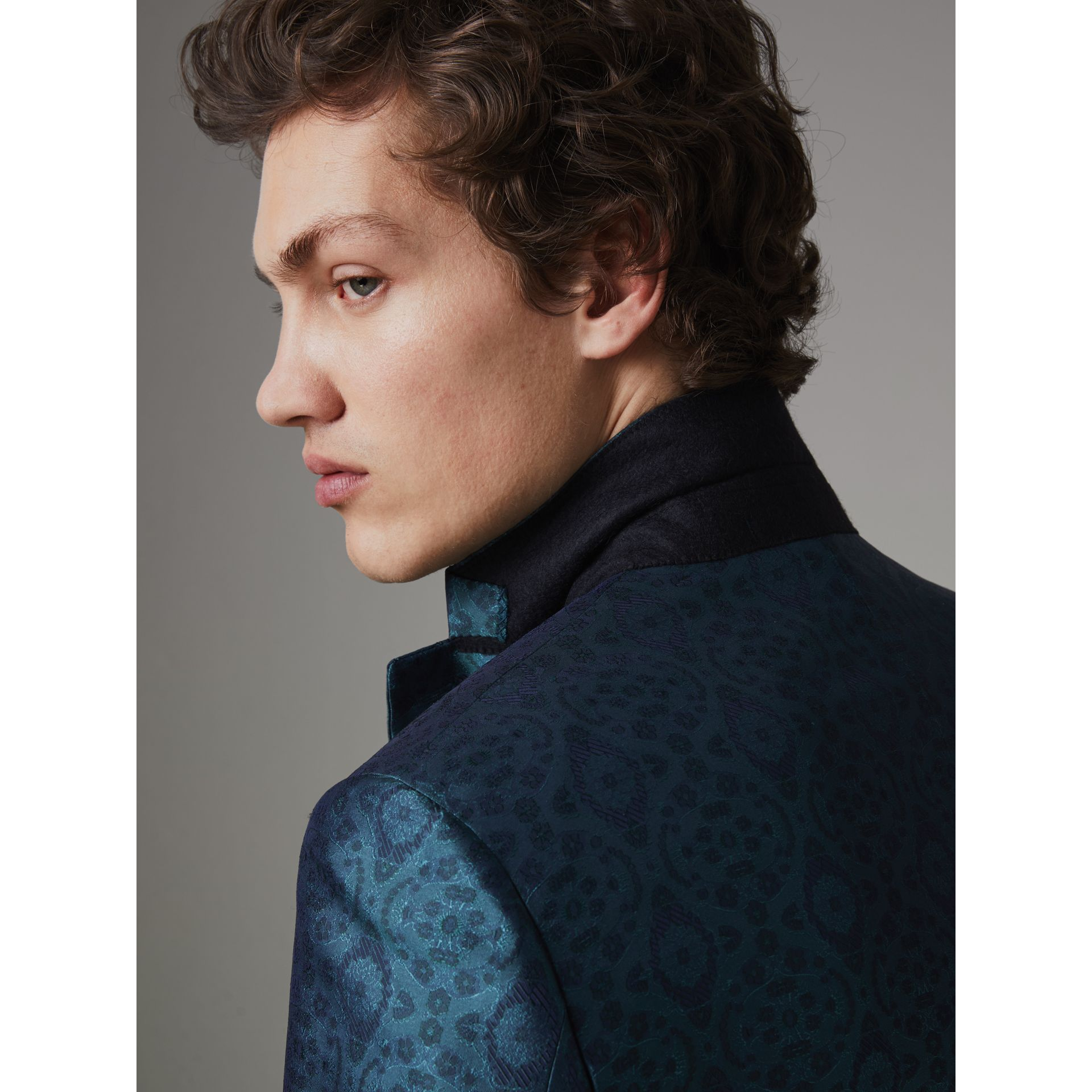 Soho Fit Geometric Silk Jacquard Suit in Dark Teal - Men | Burberry - gallery image 5