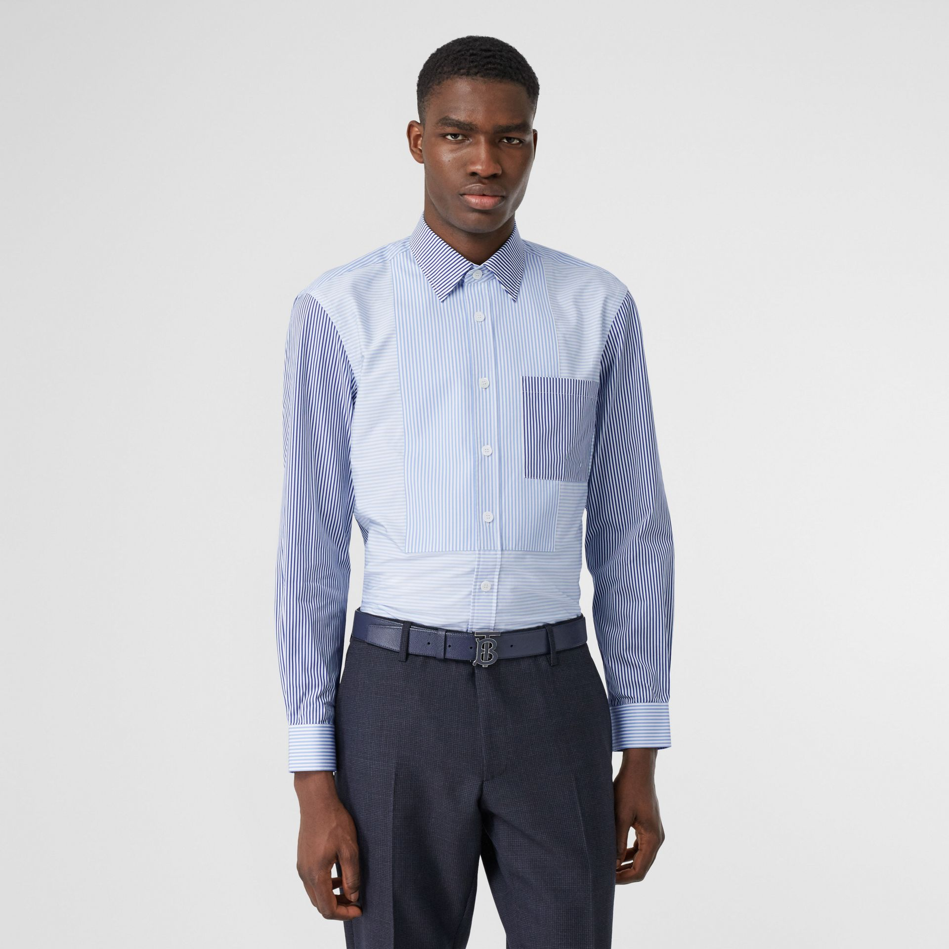 Classic Fit Patchwork Striped Cotton Shirt in Light Blue - Men | Burberry United Kingdom - gallery image 0