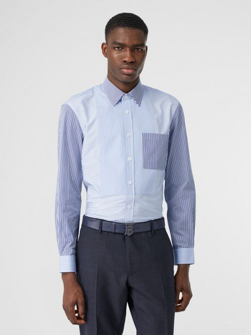 Burberry Tops Classic Fit Patchwork Striped Cotton Shirt