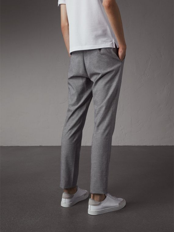Micro Houndstooth Cotton Wool Blend Drawstring Trousers in Charcoal - Men | Burberry Australia - cell image 2