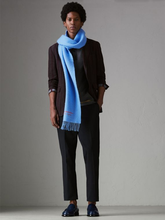 Embroidered Cashmere Fleece Scarf in Blue Topaz