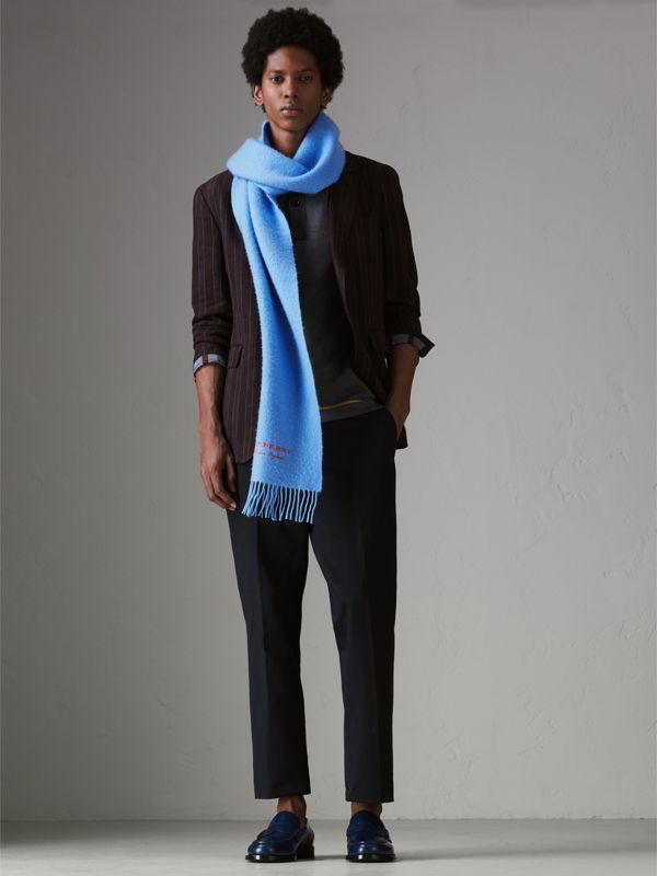 Embroidered Cashmere Fleece Scarf in Blue Topaz | Burberry United Kingdom - cell image 3