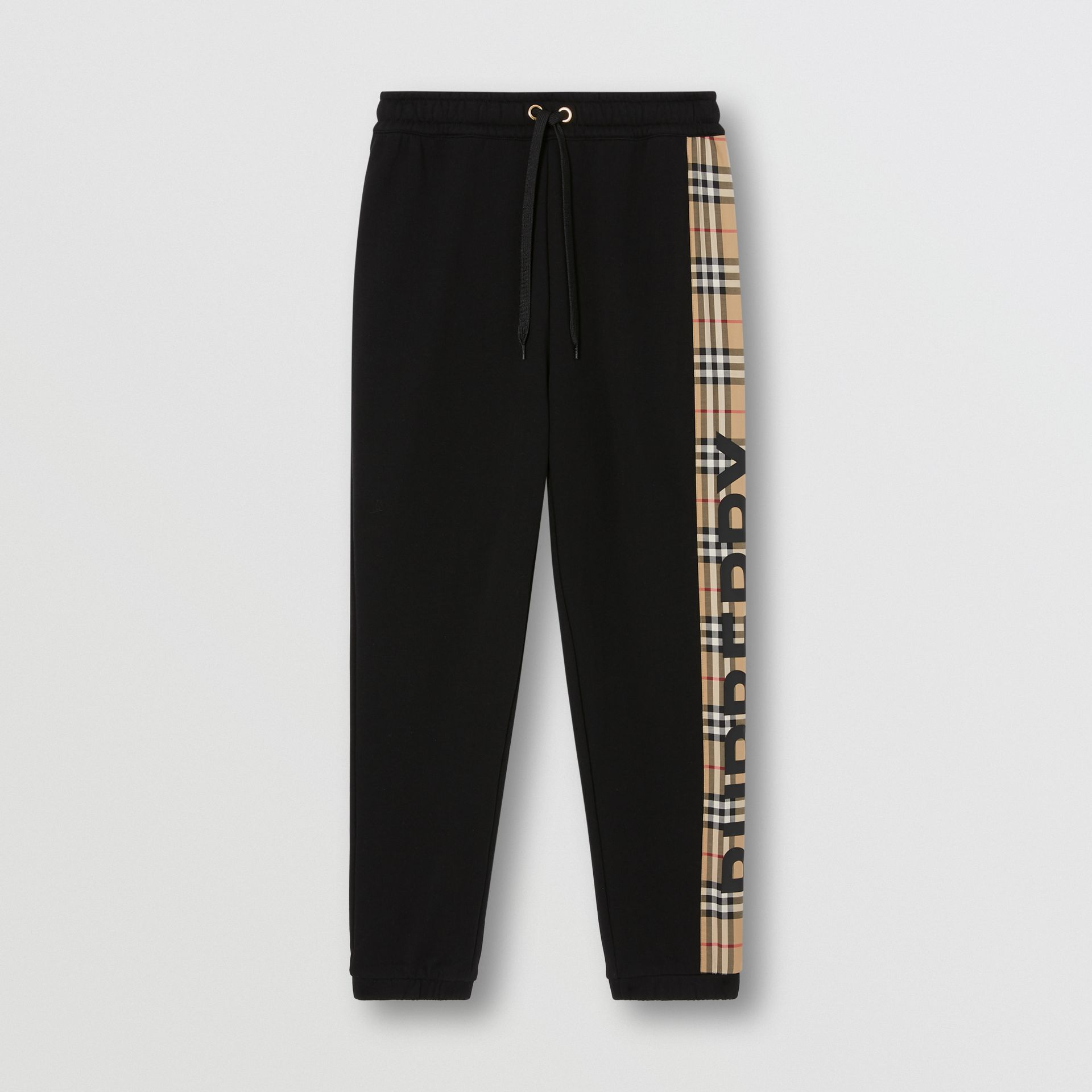 Vintage Check Panel Cotton Trackpants in Black - Women | Burberry United Kingdom - gallery image 3