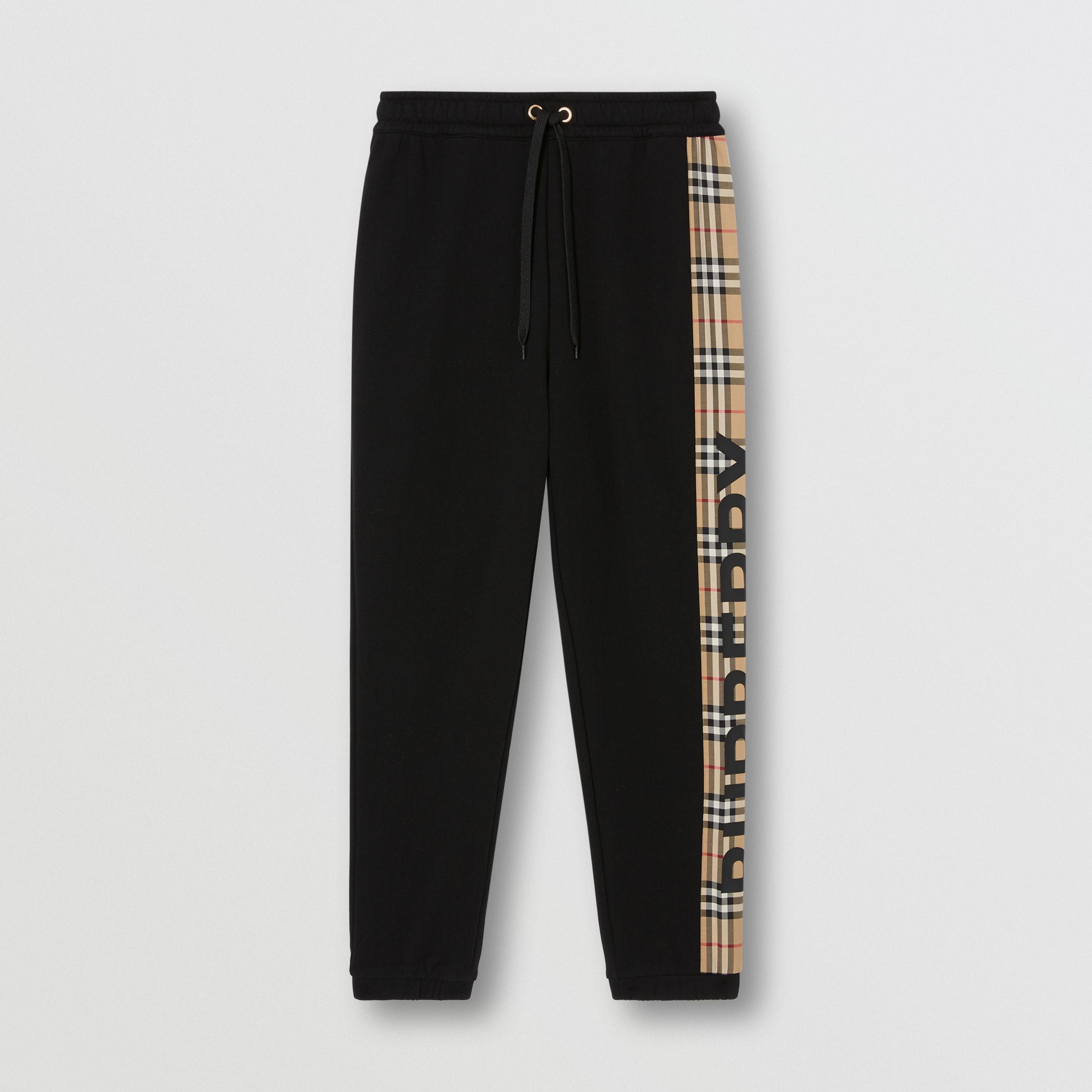Vintage Check Panel Cotton Jogging Pants in Black - Women | Burberry - 4