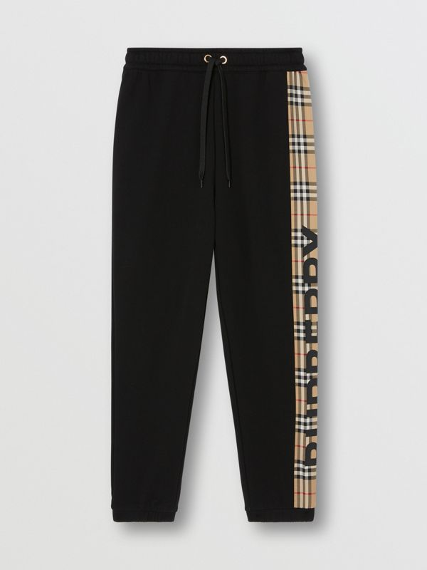 Vintage Check Panel Cotton Trackpants in Black - Women | Burberry - cell image 3