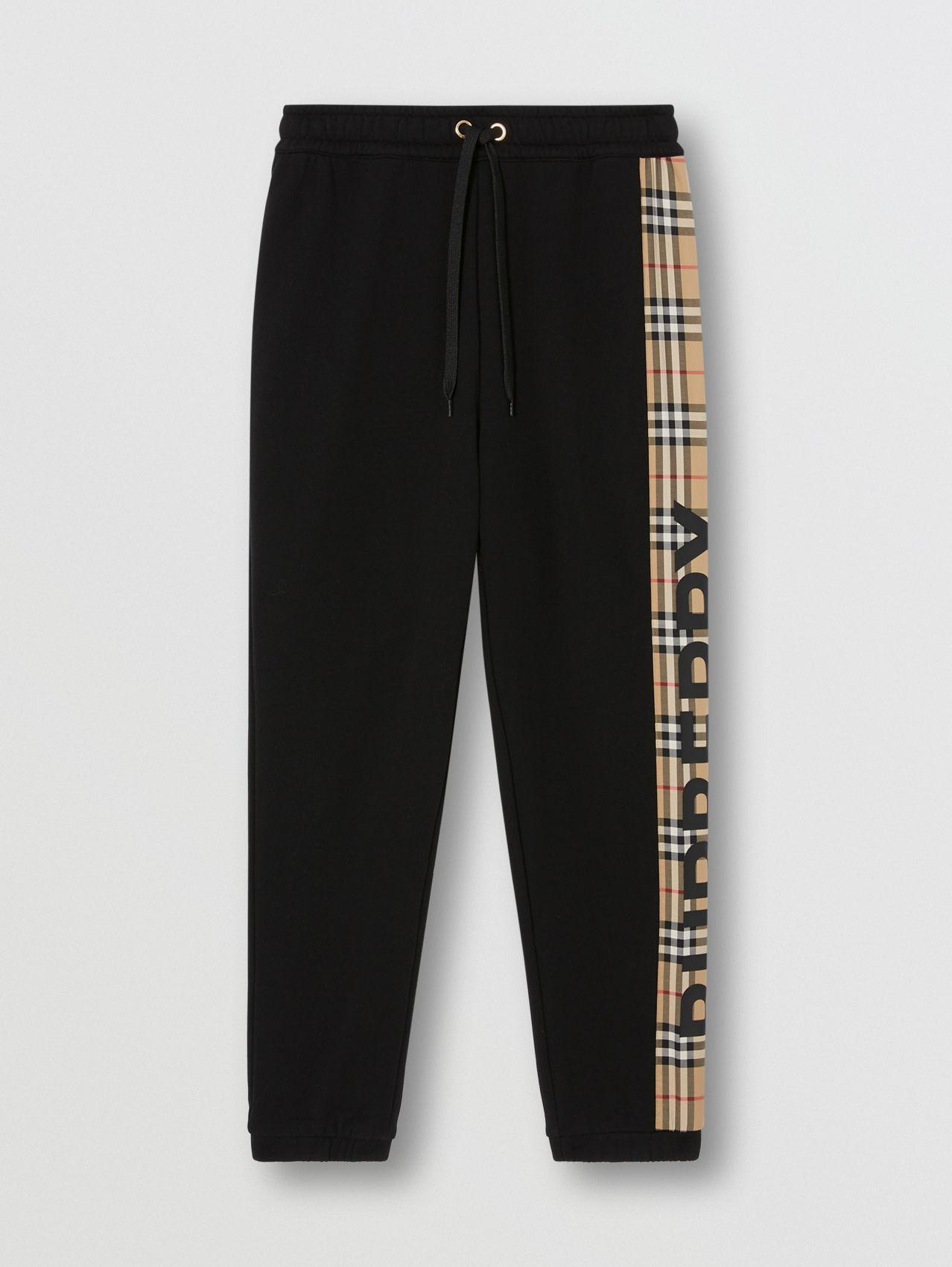 Vintage Check Panel Cotton Jogging Pants in Black