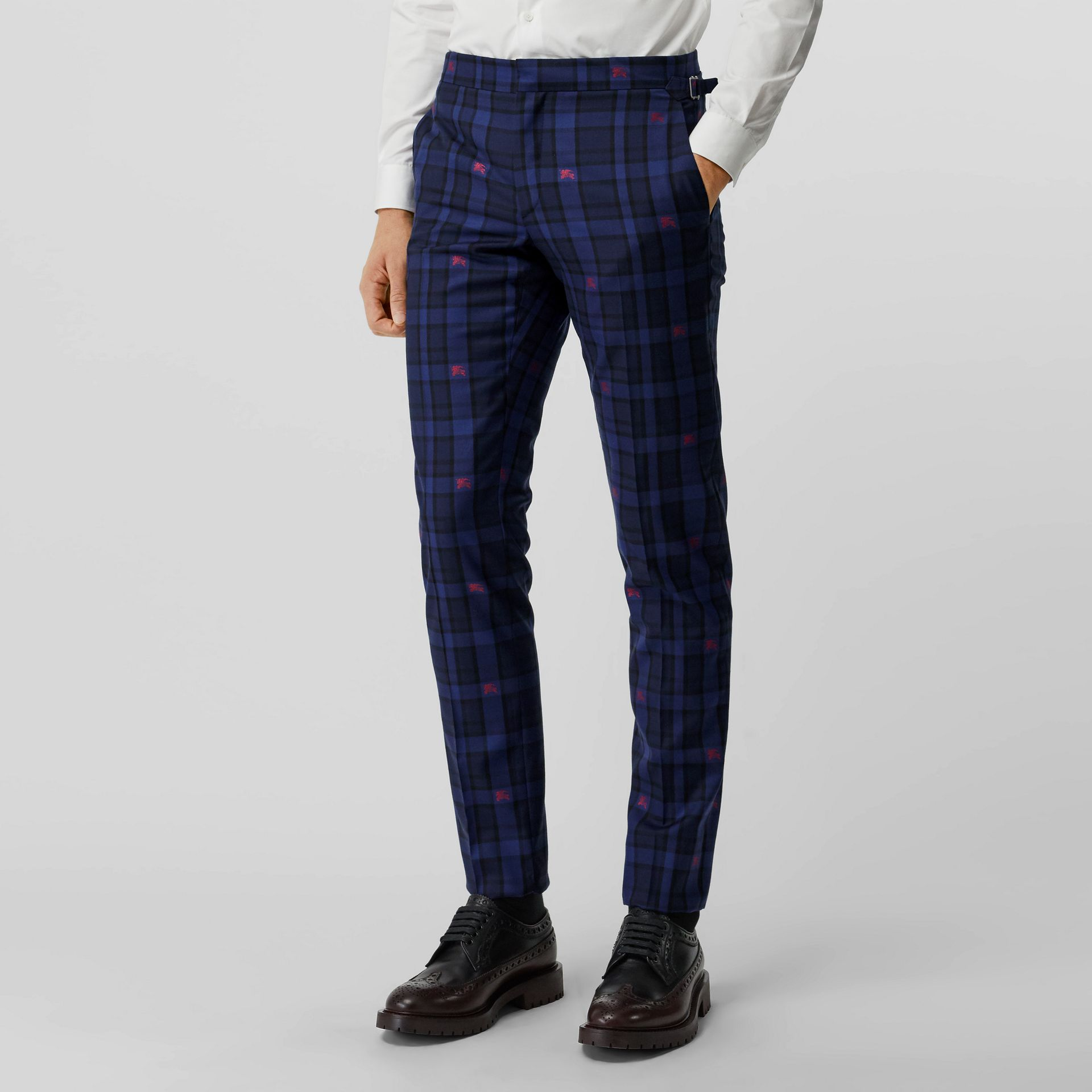Slim Fit EKD Check Wool Tailored Trousers in Dark Indigo - Men | Burberry - gallery image 0