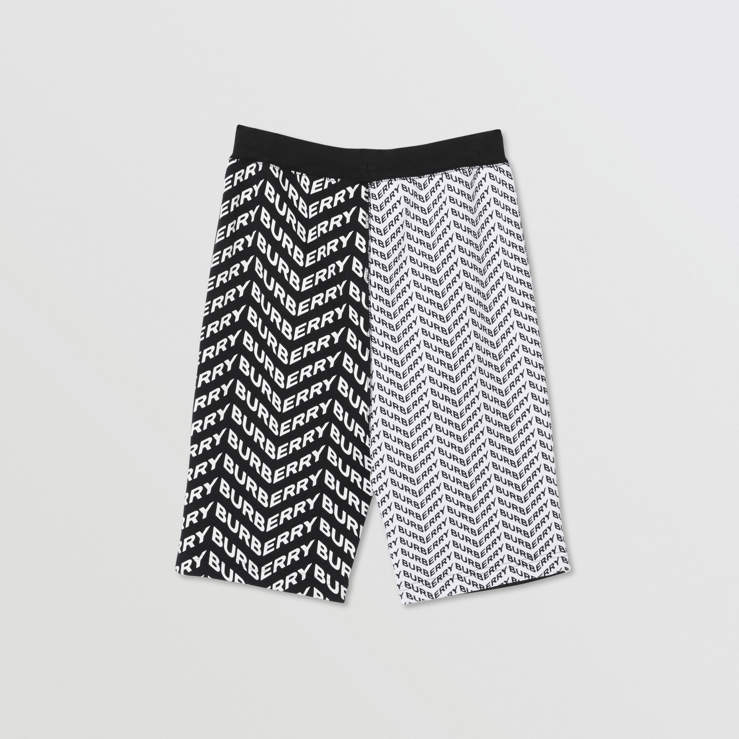 Kingdom Print Cotton Drawcord Shorts in Black | Burberry - 4