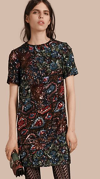 Hand-embroidered Sequin and Bead T-shirt Dress