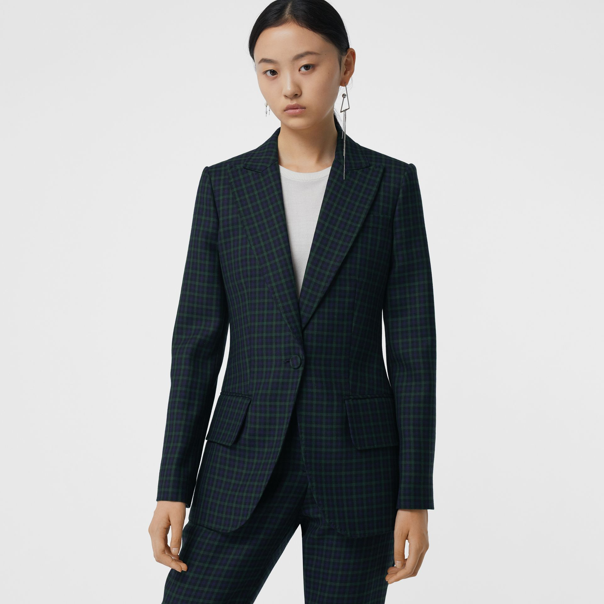 Check Stretch Wool Blazer in Navy - Women | Burberry United Kingdom - gallery image 5