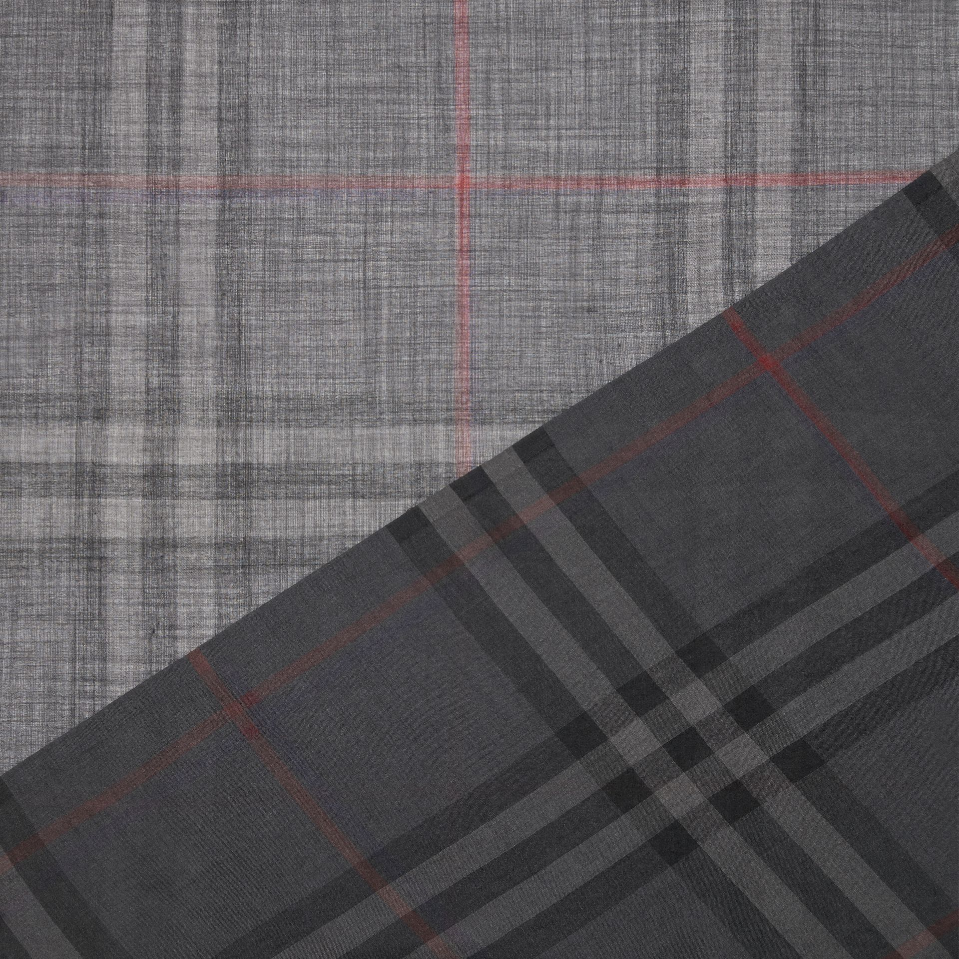 Lightweight Check Wool and Silk Scarf in Charcoal | Burberry Singapore - gallery image 1
