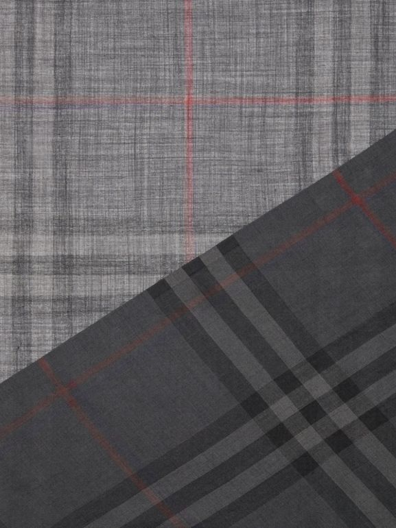 Lightweight Check Wool and Silk Scarf in Charcoal | Burberry United Kingdom - cell image 1