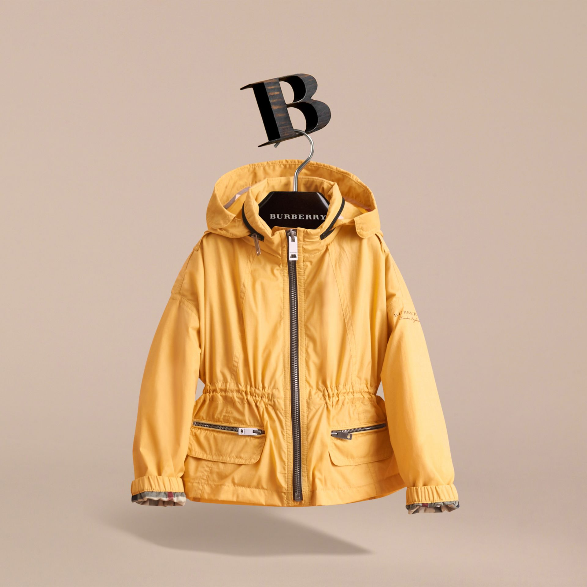 Packaway Hood Showerproof Jacket with Check Detail in Gorse Yellow - Girl | Burberry - gallery image 3