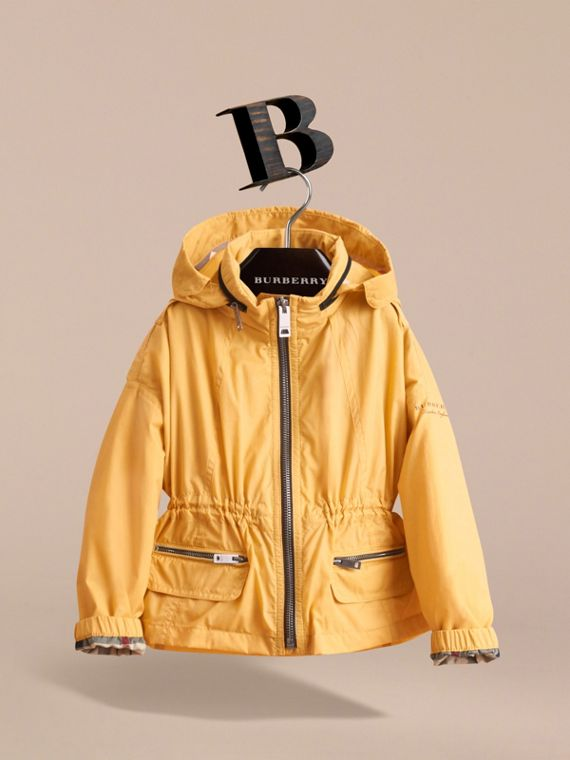 Packaway Hood Showerproof Jacket with Check Detail in Gorse Yellow - Girl | Burberry - cell image 2