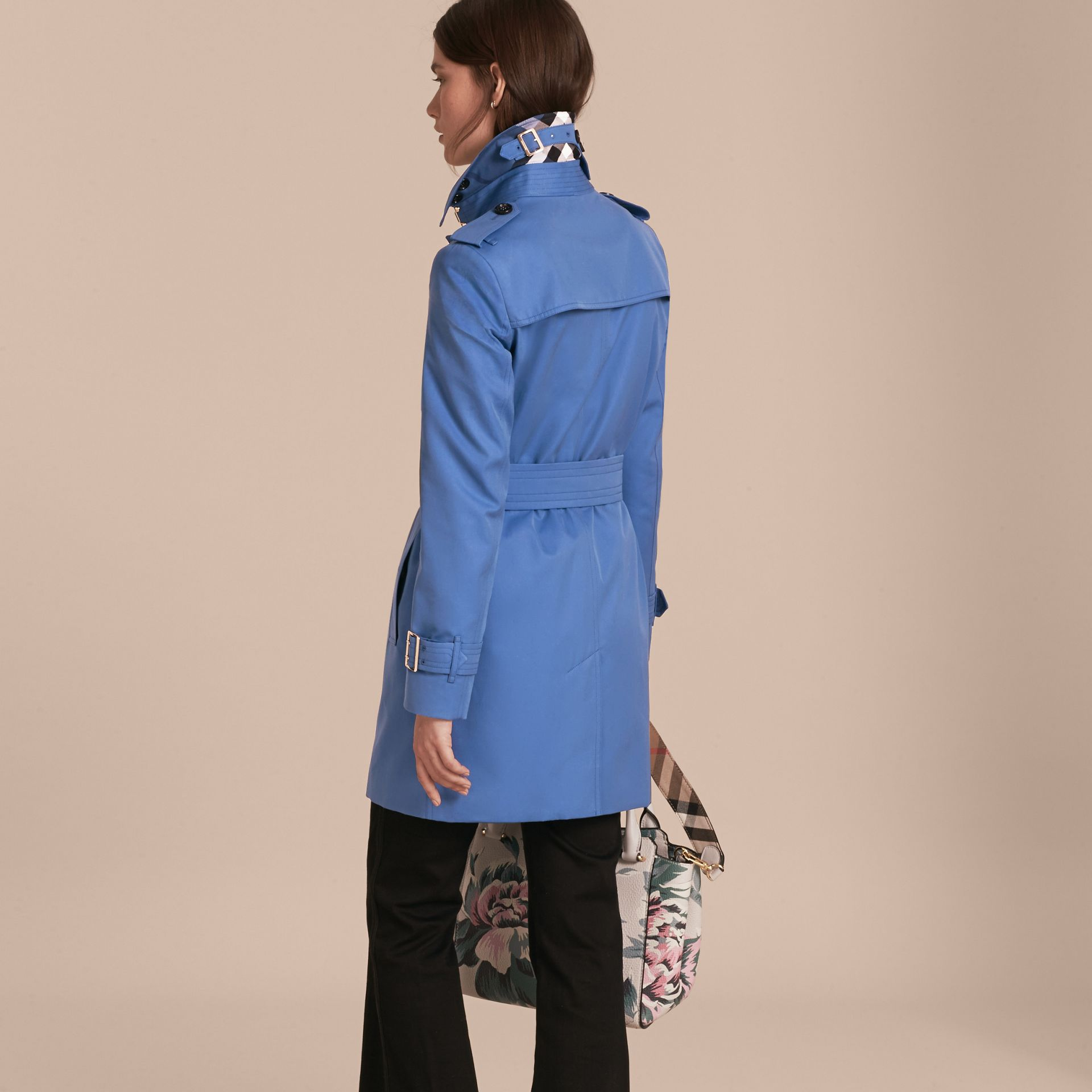 Bright steel blue Single-breasted Trench Coat with Metal Buckle Detail Bright Steel Blue - gallery image 3