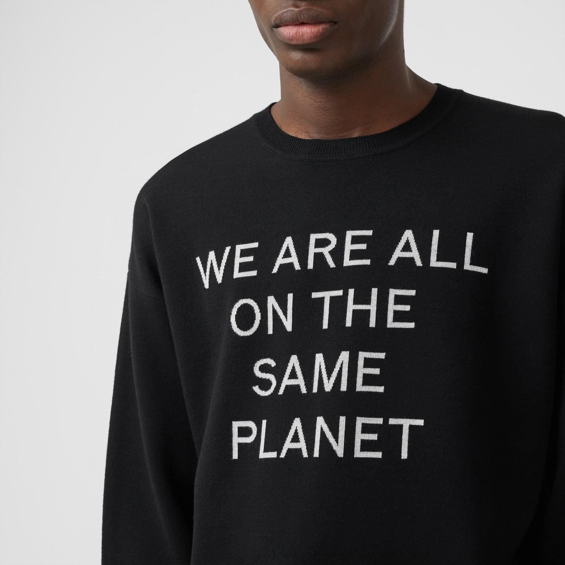Slogan Intarsia Merino Wool Blend Sweater in Black - Men | Burberry Canada - gallery image 1
