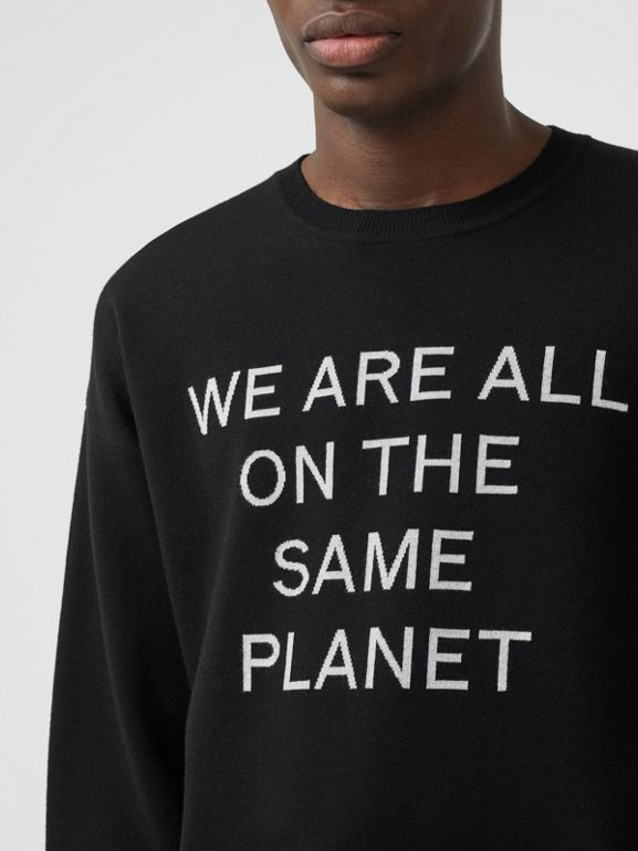 Slogan Intarsia Merino Wool Blend Sweater in Black - Men | Burberry - cell image 1