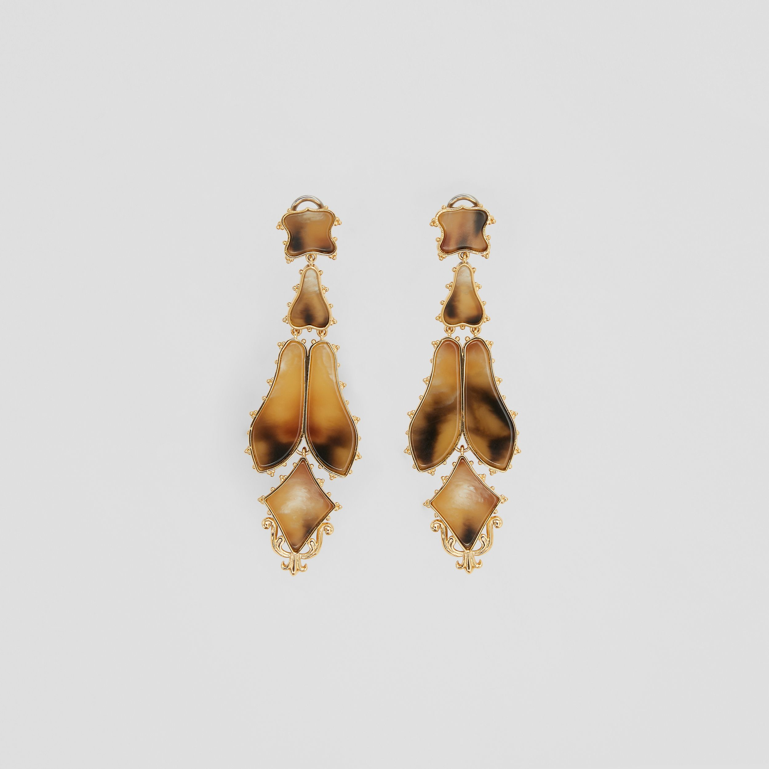 Resin and Gold-plated Drop Earrings in Light Gold/horn - Women | Burberry - 1