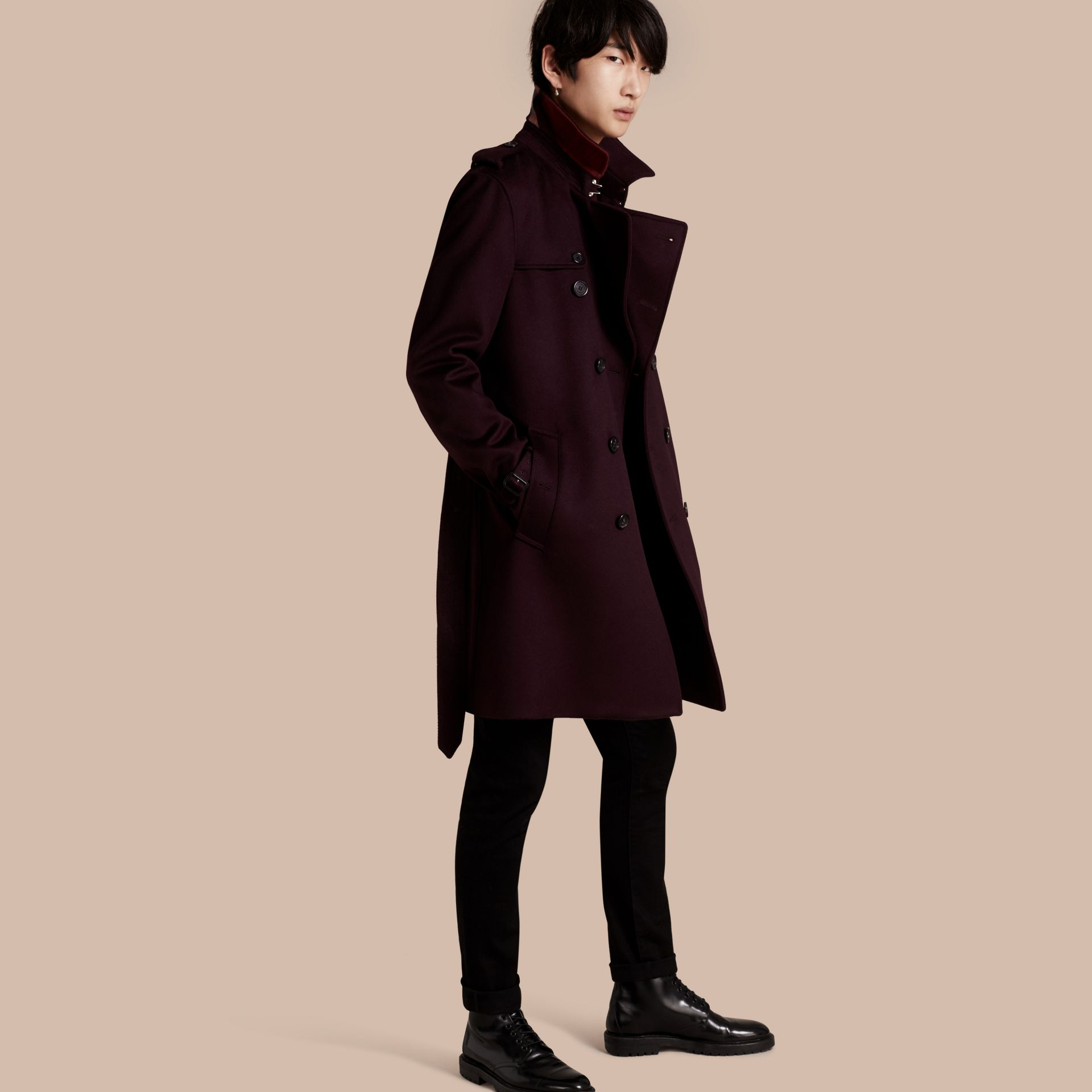 Cashmere Trench Coat Plum - gallery image 1