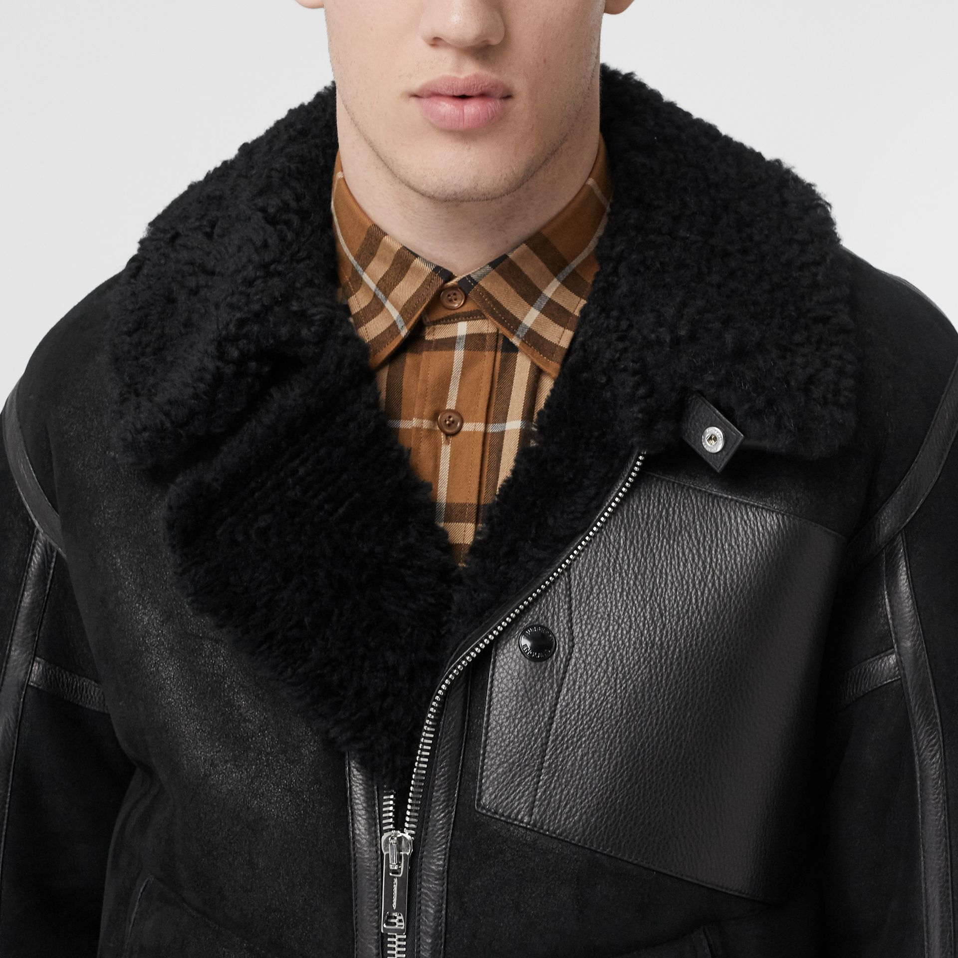 Shearling and Leather Jacket in Black - Men | Burberry Singapore - gallery image 1