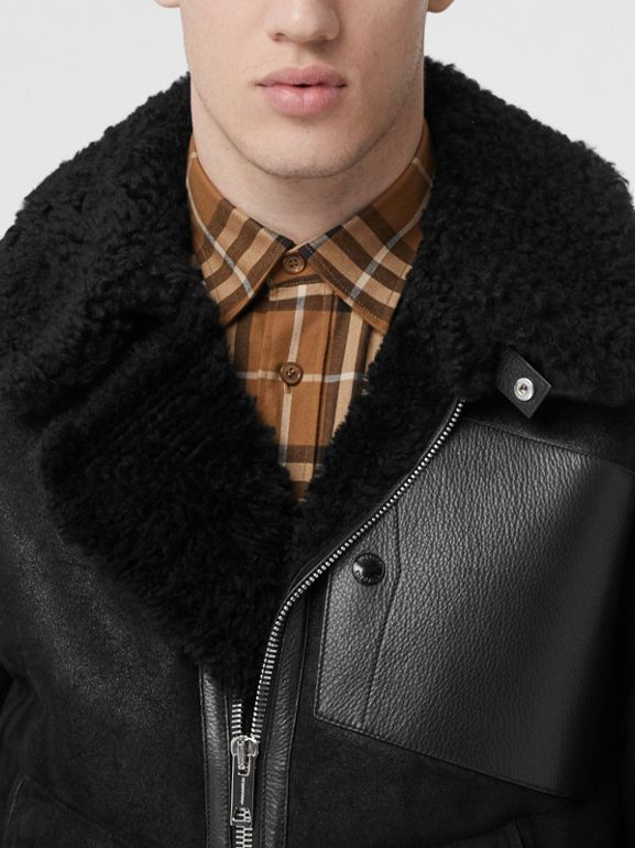 Shearling and Leather Jacket in Black - Men | Burberry - cell image 1