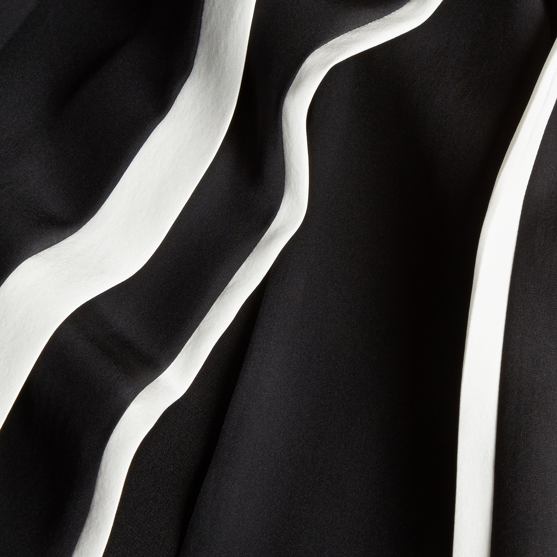 Black Contrast Detail Silk Shift Dress - gallery image 2