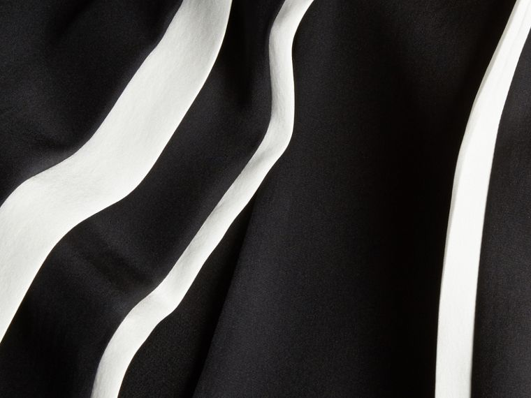 Black Contrast Detail Silk Shift Dress - cell image 1