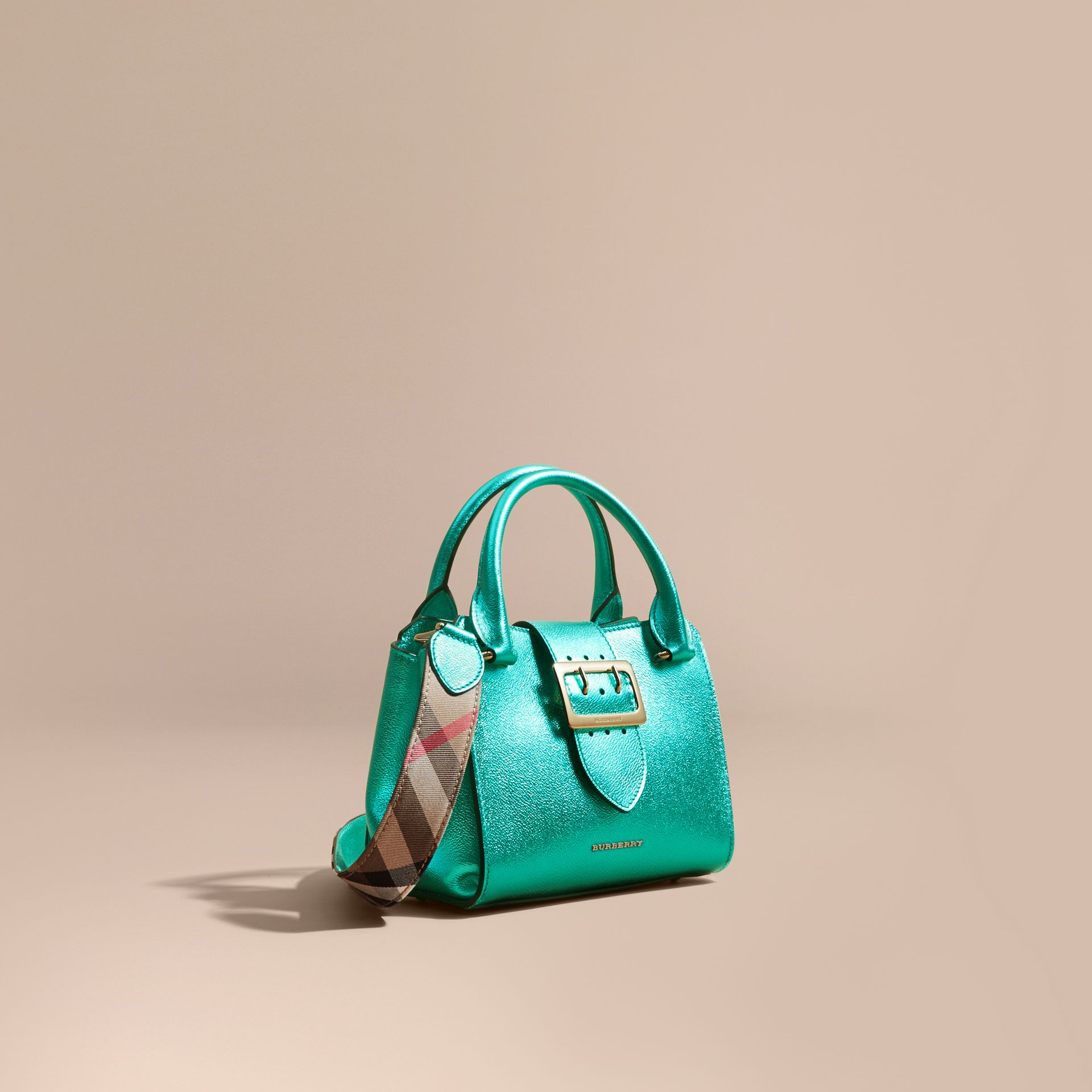 The Small Buckle Tote in Metallic Leather Emerald - gallery image 1